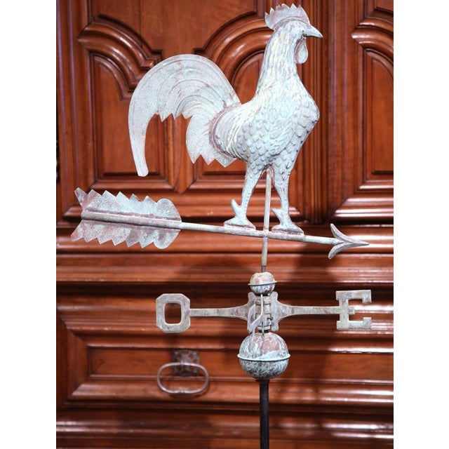 Metal French Tole Rooster Weathervane For Sale - Image 7 of 7