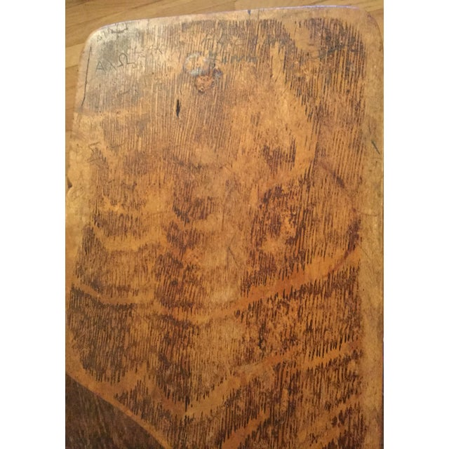 Antique Quarter Sawn Oak University Lecture Hall Chair - Metal Pedestal For Sale - Image 6 of 7