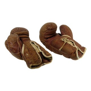 Vintage Leather Boxing Gloves - A Pair