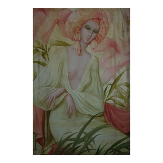Beautiful Oil Painting of a Woman by Philippe Augé For Sale