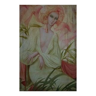 """""""Les Fleur Amoureuse"""" Woman Oil Painting by Philippe Augé For Sale"""