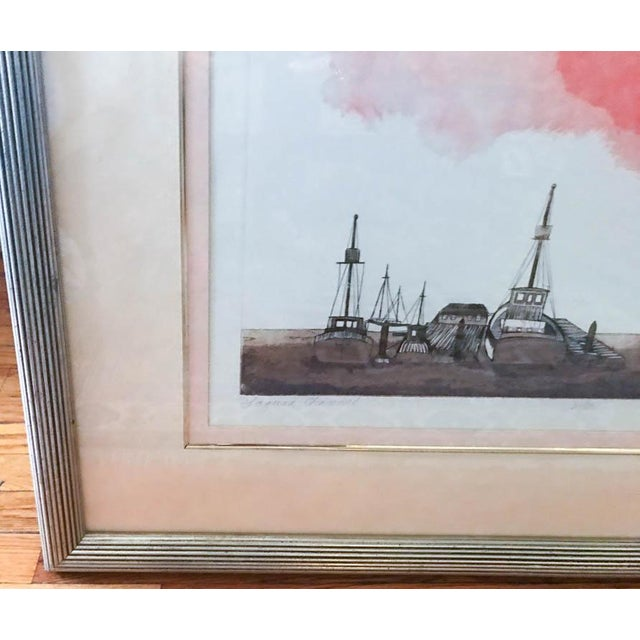 Etching Mid Century Original Artwork by Listed Artist Alec Cowan, Laguna Channel For Sale - Image 7 of 9