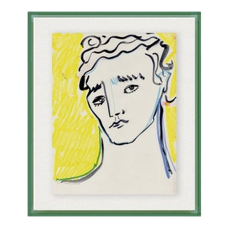 Portrait by Luke Edward Hall in Dark Green Acrylic Shadowbox, Medium Art Print For Sale