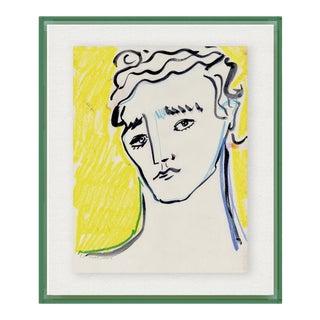 Portrait by Luke Edward Hall in Dark Green Acrylic Shadowbox, Medium Art Print For Sale