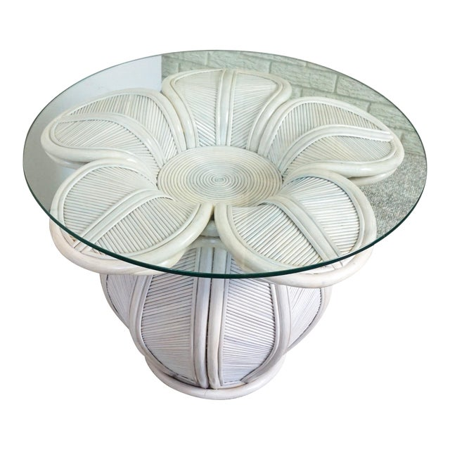 Bamboo Pencil Reed Flower Shaped End Table For Sale
