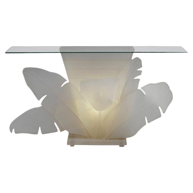 Luminous Electrified Frosted Lucite Palm Motife Console Table For Sale
