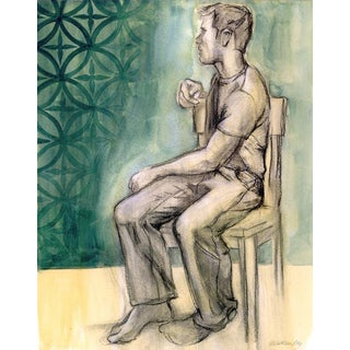 Original Male Figure Mixed Media Drawing Faded Wallpaper For Sale