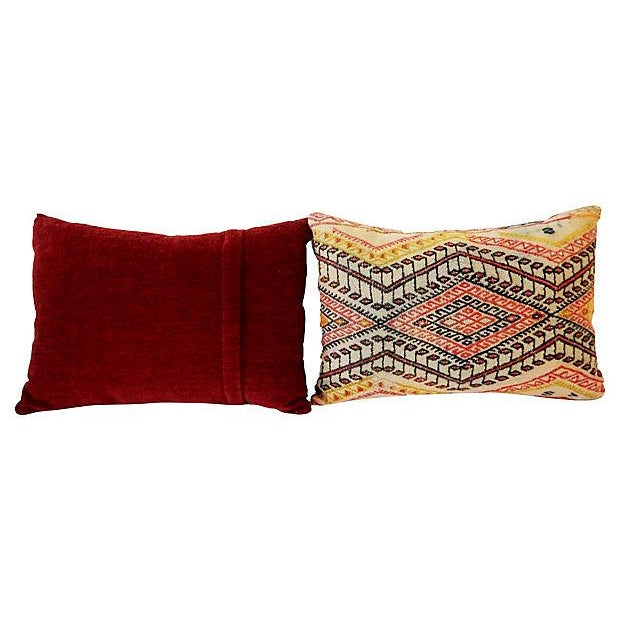 Antique Caucasian Soumak Pillows, Pair - Image 8 of 8