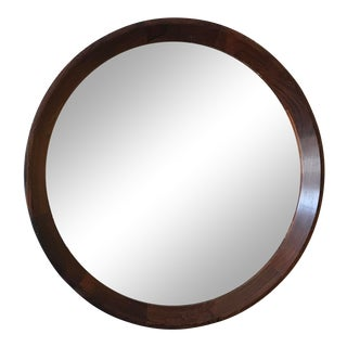 Round Danish Modern Rosewood Mirror by Hans Gustav Ehrenreich For Sale