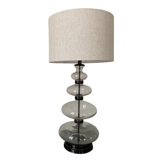 Pair of Estelle Stacked Glass Table Lamp by Pottery Barn With Shade For Sale