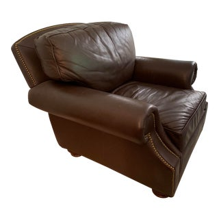 Leathercraft Leather Chair With Rolled Arms For Sale