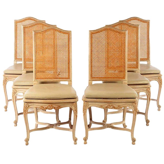Set of Six Louis XV Style High Back Caned and Painted Dining Chairs For Sale