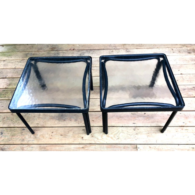 Brown Jordan 1960s Mid-Century Modern Brown Jordan Tamiami Kantan Black Metal Side Tables - a Pair For Sale - Image 4 of 5