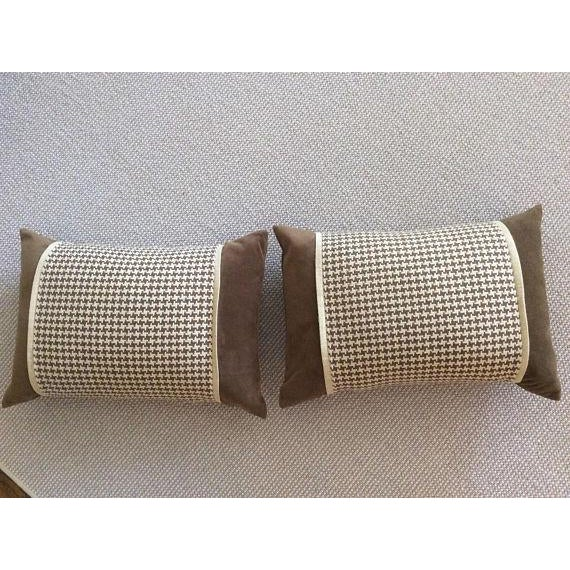Chocolate Brown Velvet, Brown & Cream Houndstooth Check Woven Pillow Covers - A Pair - Image 4 of 5
