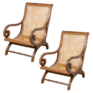 Anglo Indian, Plantation Hard Wood & Cane Chairs, C.1920, A-Pair For Sale