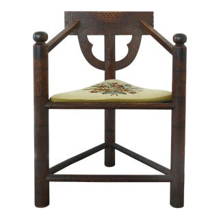 Aesthetic Movement Antique Carved Wood Corner Chair W/ Needlepoint Cushion For Sale