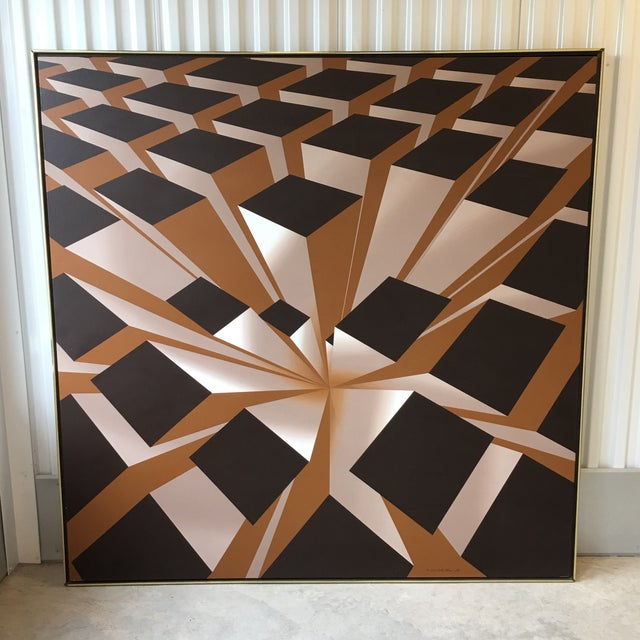 Vintage Artist Signed Geometric Op Art Acrylic on Canvas Monumental Wall Art- 5' X 5' For Sale - Image 13 of 13