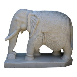 Hand Carved White Marble Elephant For Sale