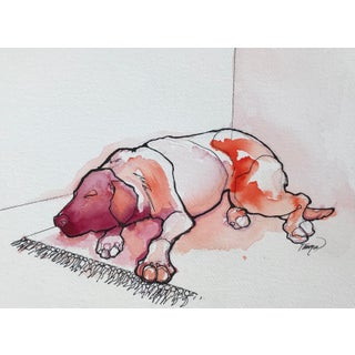 Let Sleeping Dogs Lie Watercolor and Ink Art by Tanwa Allred For Sale