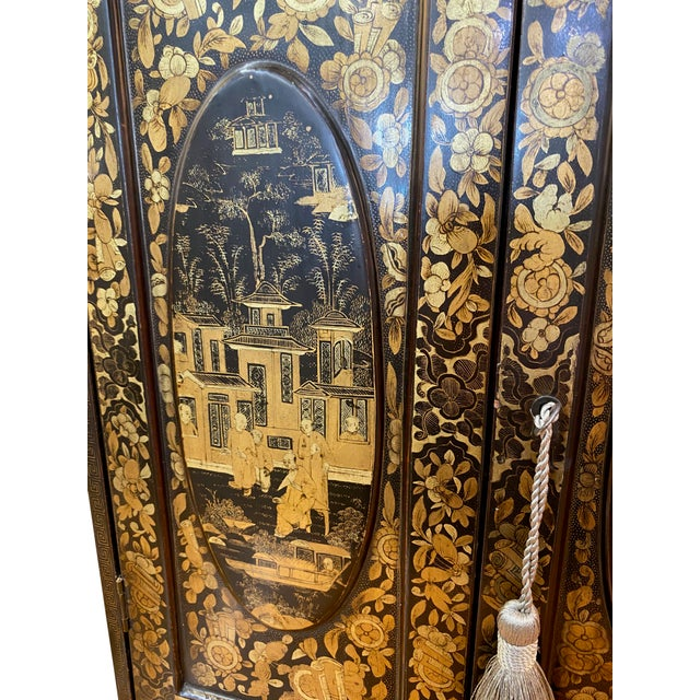 19th Century 19th Century Black and Gold Chinoiserie Chest For Sale - Image 5 of 8