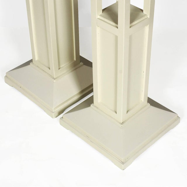 1910s Pair of Cubist Art Nouveau Stands, Ivory lacquered Oak, France For Sale - Image 6 of 7