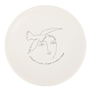 1970s Peace Dove & Woman Pablo Picasso & Paul Eluard for Limoges Porcelain Plate For Sale