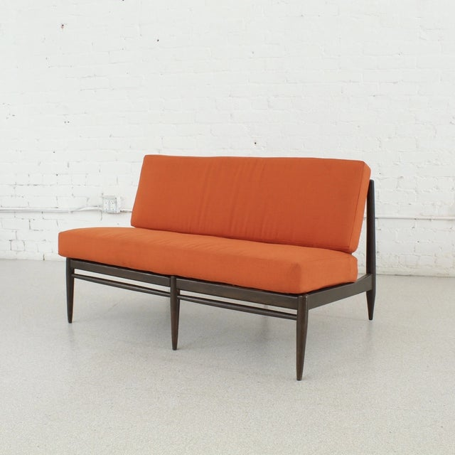 Wood Vintage Orange Tweed Armless Low Profile Loveseat For Sale - Image 7 of 7
