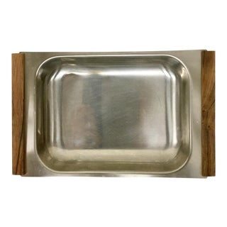 Danish Stainless & Teak Serving Tray For Sale