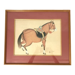 """1986 Chinese T'ang Stallion Painting, """"Dressed Up"""" - Watercolor by K Lee White For Sale"""
