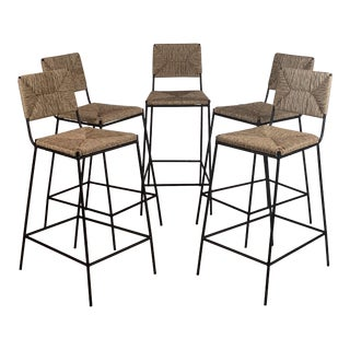 """Campagne"" Counter Height Stools by Design Frères- Set of 5 For Sale"