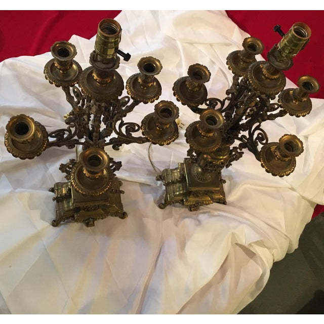 French Bronze Candelabra Lamps - Pair - Image 2 of 7