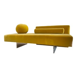 Vladimir Kagan Style Omnibus One Arm Sofa in Upholstered Seat With Lucite Base For Sale
