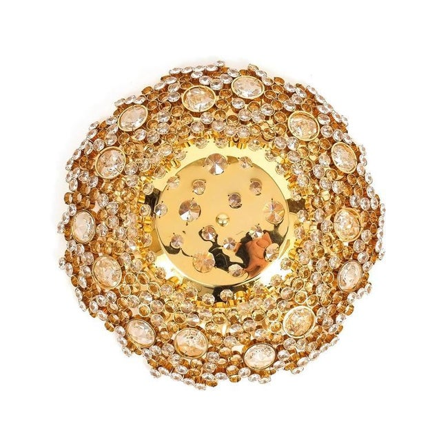 Palwa Crystal Glass Encrusted Gold Plated Brass Flush Mount Ceiling Light, 1960. All our Palwa lights have been...