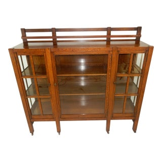 Antique Charles Stickley Three Door Book Case For Sale