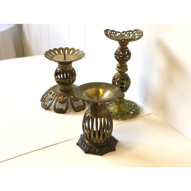1970s 1970s Brass Bohemian Candlesticks - Set of 3 For Sale - Image 5 of 11