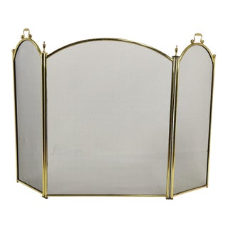 Traditional Folding Fire Screen Spark Guard For Sale