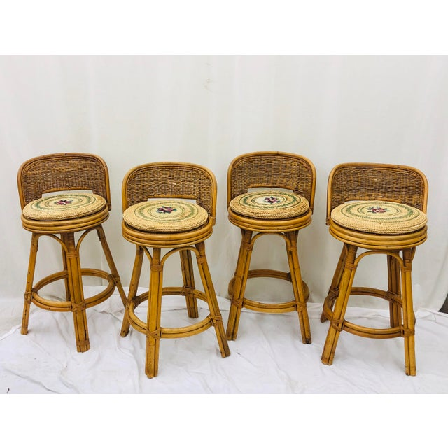 Set Vintage Bamboo & Wicker Stools For Sale - Image 11 of 11