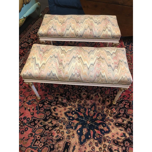 Fabric Louis XVI Benches - a Pair For Sale - Image 7 of 7
