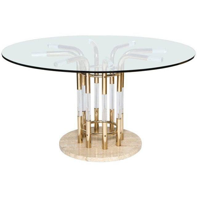 Metal 1970s Brass, Lucite, & Travertine Round Dining Table For Sale - Image 7 of 7