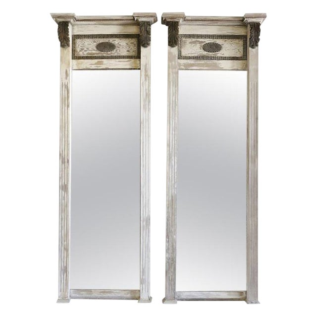Pair of Large 19th Century Trumeau Mirrors For Sale