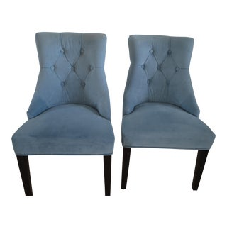 Contemporary Blue Velveteen Side Chairs - A Pair For Sale