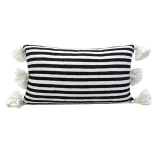 Boho Chic Moroccan Pom Pom Black and White Striped Cotton Pillow For Sale
