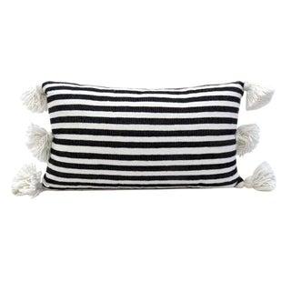 Boho Chic Moroccan Pom Pom Black and White Striped Cotton Pillow