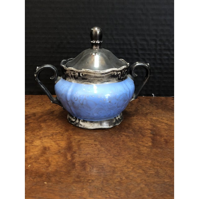 Early 20th Century Victorian Kerman Blue & Silver Tea and Coffee - Set of 18 For Sale - Image 5 of 10