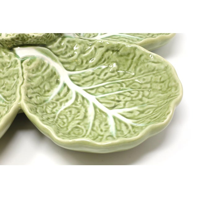 """A 15"""" RARE Vintage Bordallo Pinheiro Majolica Green Cabbage Leaf Chip and Dip Cabbage Leaf Serving Platter With Spoon 3..."""