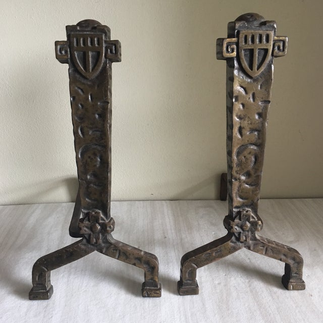 1930's Vintage Gothic Fireplace Andirons - a Pair - Image 2 of 5