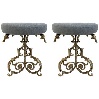 Pair of Hollywood Regency Floral Stools For Sale