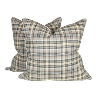 Custom Plaid Chatham Pillows - A Pair For Sale