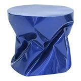 Image of Sculptural Metal Blue Side Table For Sale
