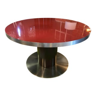 1970s Willy Rizzo Stainless Steel and Red Top Round Dining Table For Sale